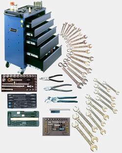 Базовый набор HAZET 91 предмет в инструментальной тележке